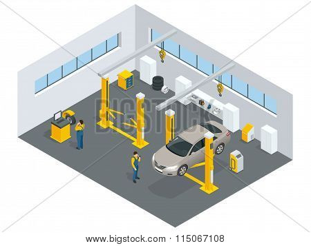 Auto mechanic service. Service station. Flat icons of maintenance car repair and working. Isolated v