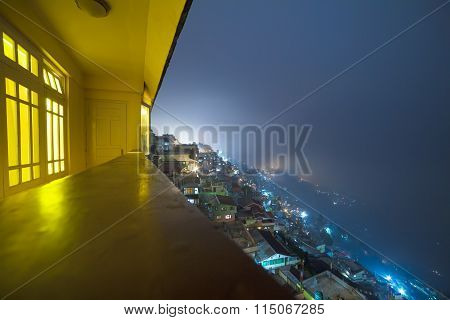 Panoramic View Of Night Darjeeling, West Bengal, India.