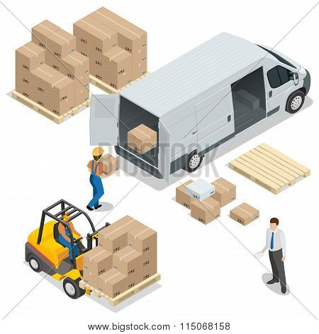 Warehouse. Loading and unloading from warehouse. Delivery and logistic, storage and truck, transport