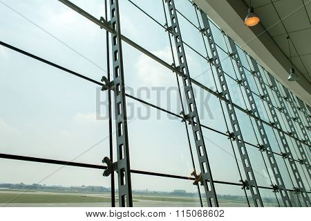 Picture Window In The Lobby Of The Airport