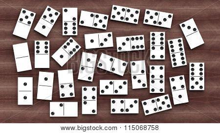 White domino tiles set, on wooden background