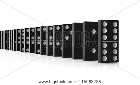 Black domino tiles set in a row, isolated on white