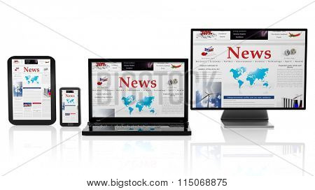 Tablet, smartphone, laptop and monitor with News website on screen,isolated on white.