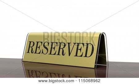 Golden glossy reservation sign on wooden surface, isolated on white background.