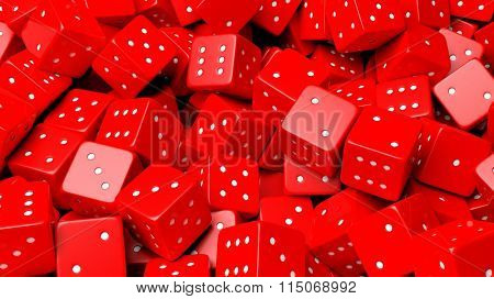 Abstract conceptual background with pile of random red dices, top view.