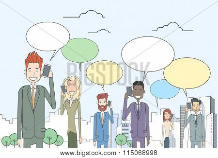 Businesspeople Group Smart Phone Talk Chat Bubble Communication