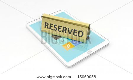 Golden glossy reservation sign on tablet screen, isolated on white background.