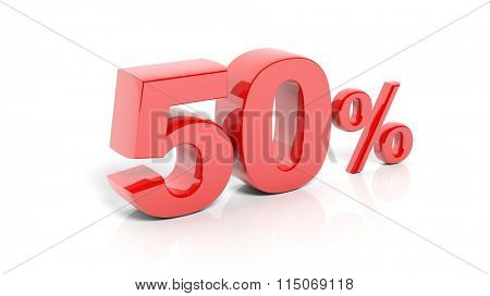 Red 50 percent number, isolated on white background.