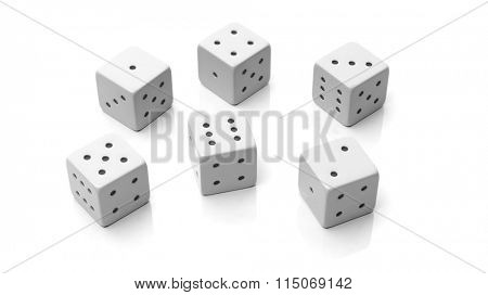 Six white dices with one to six numbers, isolated on white background
