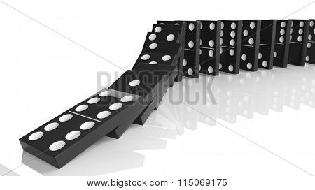 Black domino tiles falling in a row, isolated on white