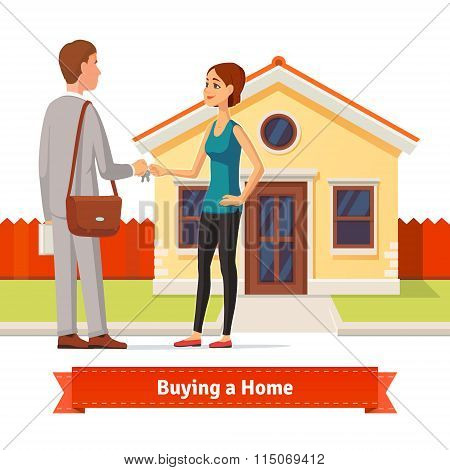 Woman buying a new house. Real estate agent
