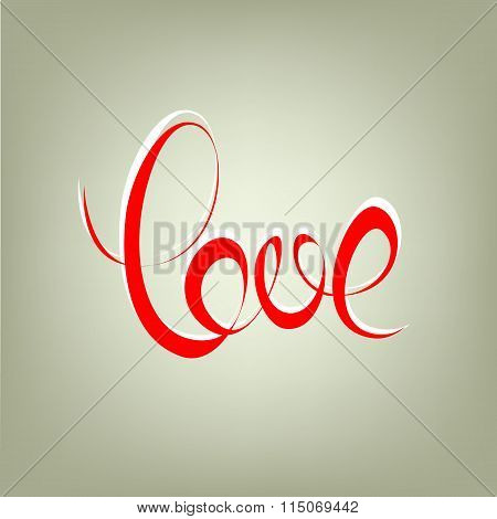 love curly calligraphy sign