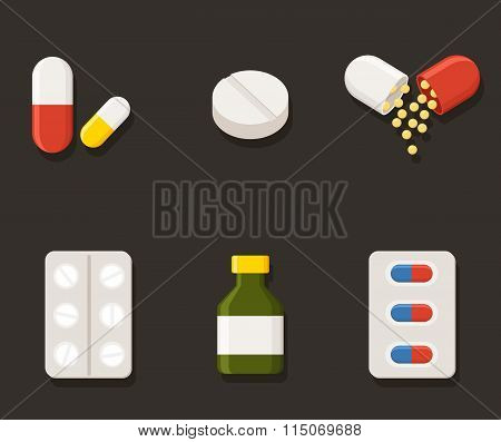 Medicine icons Pills. Capsules Prescription Bottle