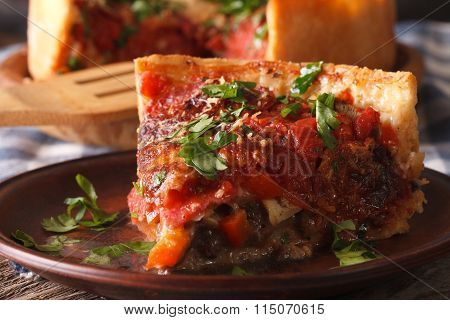 Slice Of Chicago Deep Dish Pizza On A Plate Macro. Horizontal