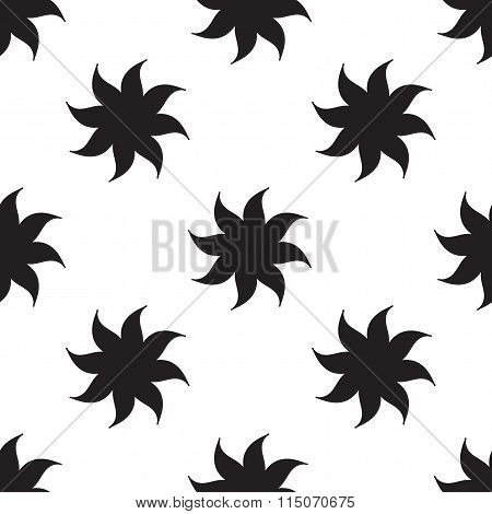 Stylized Stars Seamless Pattern. Black Elements On White Background. Abstract Texture. Vector.