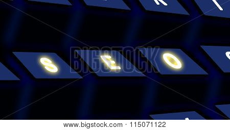 SEO text on buttons of the keyboard.