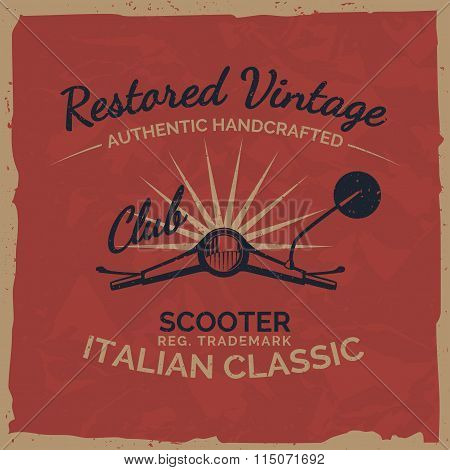 Vintage Italian Scooter Tee Print Design With Grunge Texture.