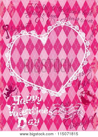 Holiday Card With Vintage Lace Heart, Angel And  Calligraphic Hand Drawn Text Happy Valentines Day O