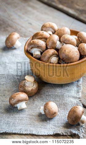 Bowl Of Brown Champignon Mushrooms