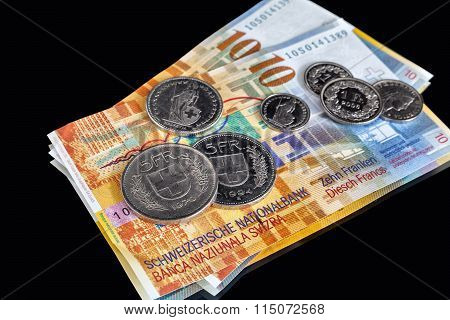 Swiss Franks - A Few Banknotes And Coins