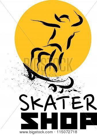 Vector hand drawn skateboarder sketch logo