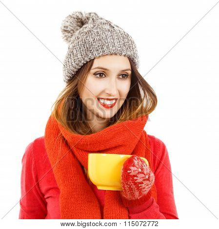 Smiling Hipster Girl in Winter Clothes with Cup