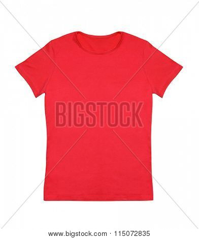 Blank red t-shirt isolated on white