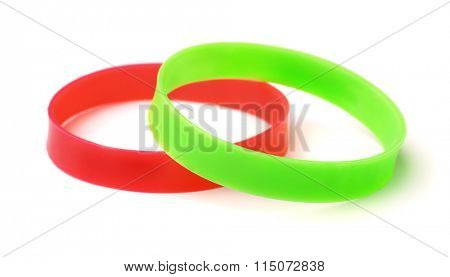 Two silicone wristbands isolated on white