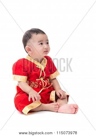 Cute Asian Baby In Traditional Chinese Suit Isolated On White Background