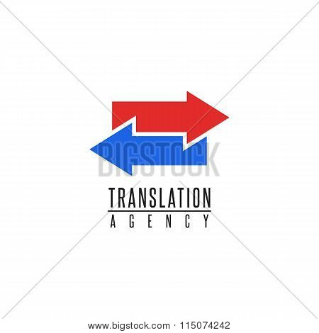 Arrows Logo Translation Agency Mockup Design Element, Online Education Language School, Graphic Geom