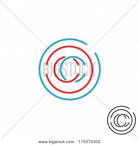 C Letter Monogram Logo Circle Intersection Line Icon, Mockup Business Card Emblem