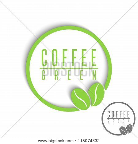 Green Coffee Logo Mockup, Design Element Cafe Espresso Emblem, Natural Beans Graphic Style