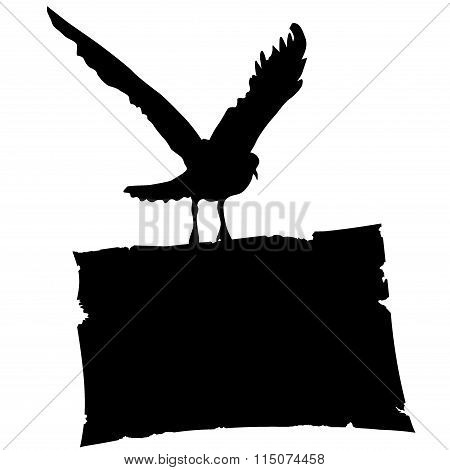 Bird with a sheet of paper. Vector.