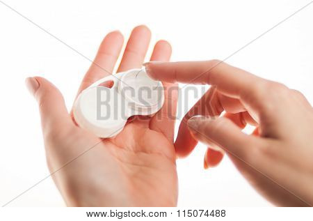 Contact Lens On Finger With Case