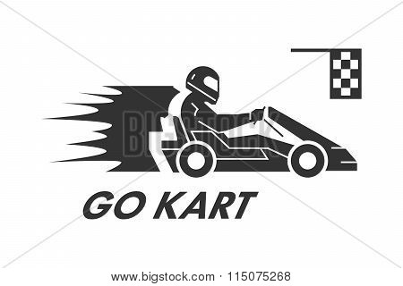 Vector Black Flat Karting Logo And Symbol.