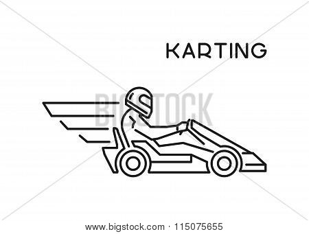 Line And Flat Karting Logo. Silhouette Figures Kart Racer.