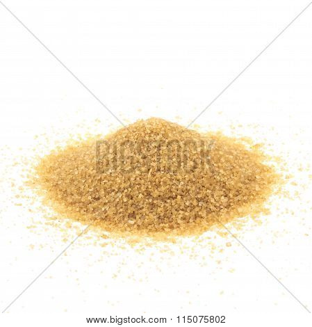 Crystals Cane Sugar Heap Isolated On White