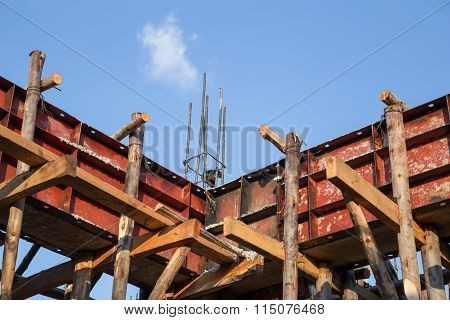 Pillar And Beam Being Constructed