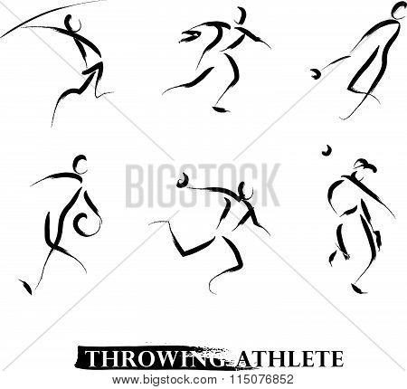 Vector hand drawn throwing athletes.