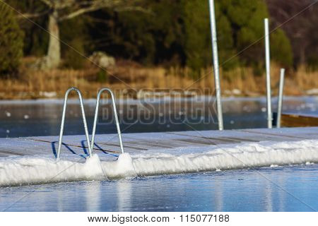 Swimming Dock In Winter