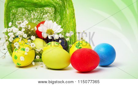 Colored Easter Eggs And Basket