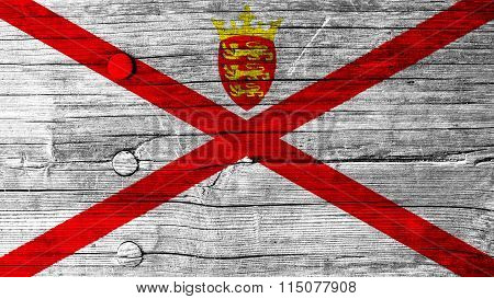 Flag of Jersey painted on wood