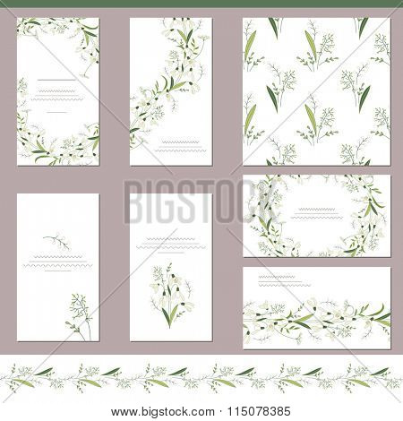 Floral spring templates with cute snowdrops. Endless horizontal pattern brush. For romantic and easter design, announcements, greeting cards, posters, advertisement.
