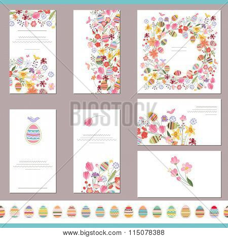 Floral spring templates with cute flowers and painted eggs. Endless horizontal pattern brush with eggs. For romantic and easter design, announcements, greeting cards, posters, advertisement.
