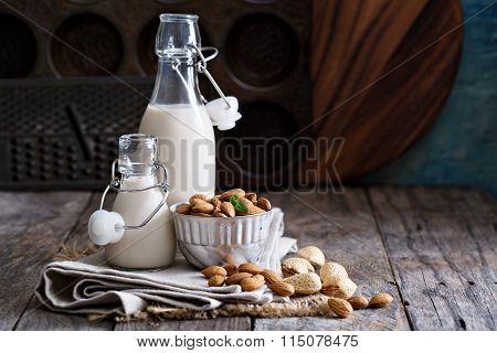 Almond nut vegan milk