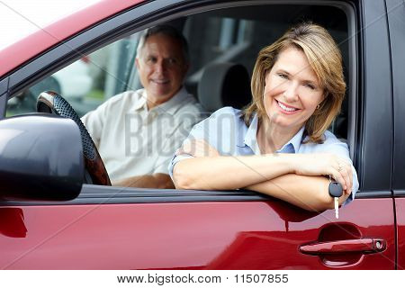 Senior Couple In The Car