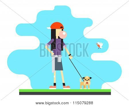 Geek Hipster Girl Lifestyle Dog Bird Sky Background Concept Flat Design Vector Illustration