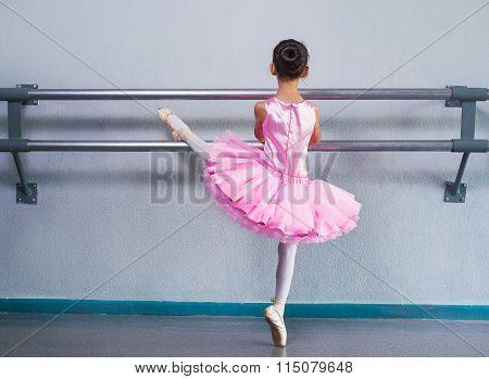 Young Ballerina In A Pink Ballet Tutu Is Dancing In Dance Class