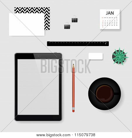 Concept Of Vector Mockup Office Workplace.