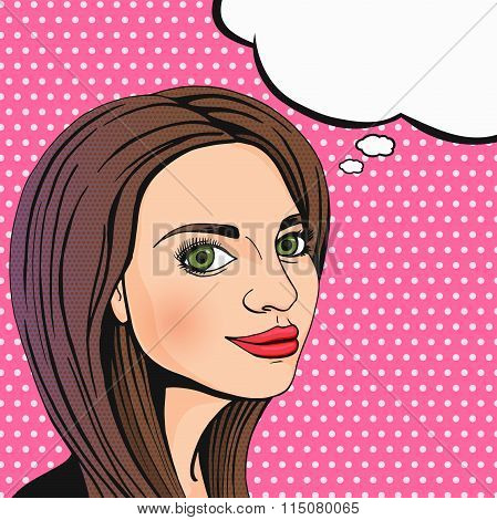 Pop Art Attractive Thinking Woman Face With Speech Cloud. Cute Brunette Girl Smiling And Looking At